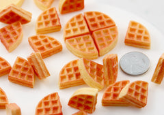 Miniature Waffles - 18mm Little Fake Waffle Kawaii Breakfast Food Flatback Resin or Acrylic Cabochons - 6 pc set
