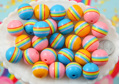 Rainbow Beads - 18mm Chunky Rainbow Band Striped Resin Beads - 12 pc set