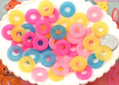 18mm Fruit Ring Candy Colorful Resin Flatback Cabochons - 12 pc set