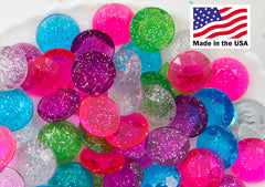 Gem Cabochons - 18mm Faceted Glitter Gems Acrylic or Resin Cabochons - 20 pc set