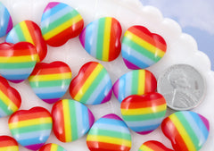 Rainbow Cabochons - 18mm Rainbow Stripe Heart Resin Flatback Cabochons - 8 pc set