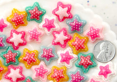 18mm Little Double Layer Scalloped Polka Dot Star Flatback Resin Cabochon - 12 pcs set
