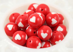 18mm Adorable Red Chunky Beads with White Hearts Gumball Resin Beads - 8 pc set