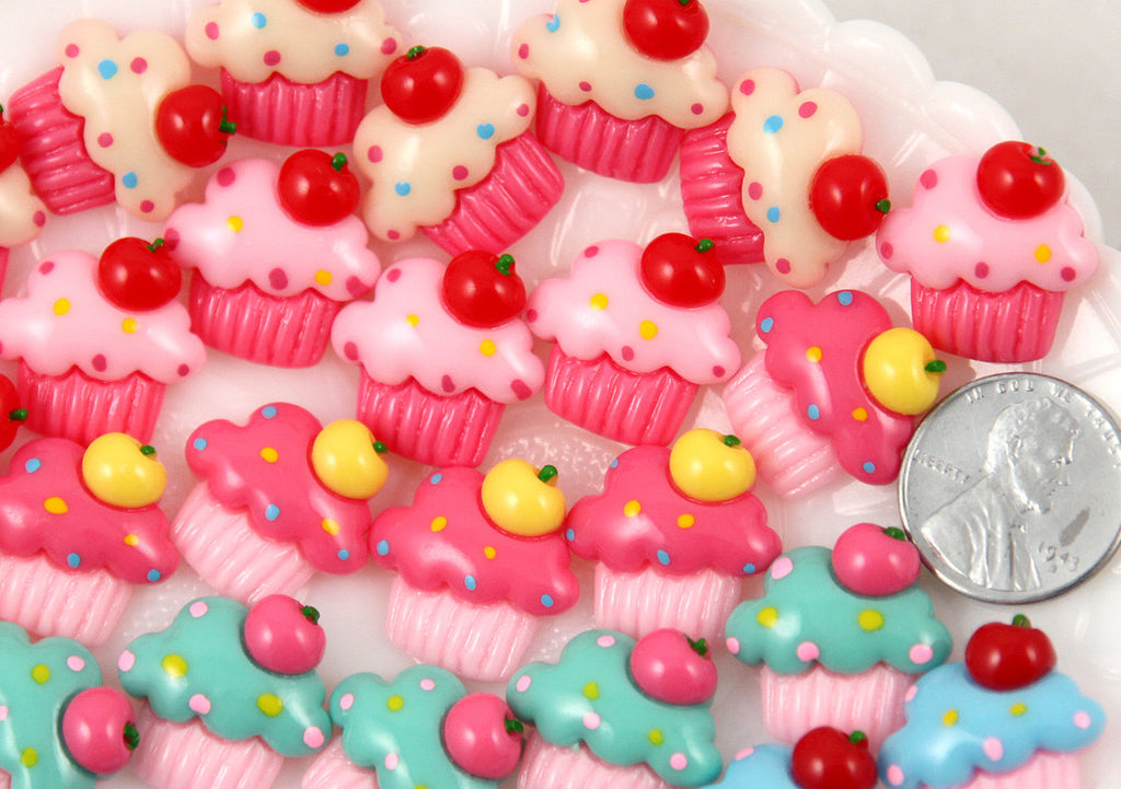 19mm Kawaii Cupcakes Flatback Resin Cabochons - 10 pc set