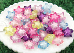 20mm Colorful Shooting Star Resin or Acrylic Beads - 24 pc set