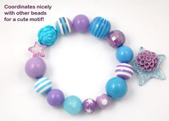 20mm Blue and Purple Chunky Stripe Gumball Bubblegum Acrylic or Resin Beads - 8 pc set