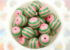 20mm Cool and Sweet Chunky Stripe Gumball Bubblegum Acrylic or Resin Beads - Pink and Bright Green - 8 pc set