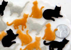 Cat Cabochon - 20mm Fuzzy Flocked Cats Kitty Flat Back Resin Cabochons - 6 pc set