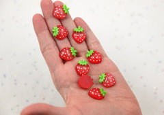 19mm New Cute Red Strawberry Small Acrylic or Resin Flatback Cabochons - 6 pc set
