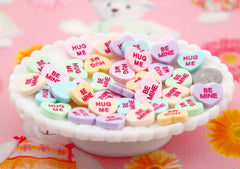 Valentine's Day Hearts - 20mm Pastel Conversation Hearts Resin Flat Back Cabochons - 12 pc set