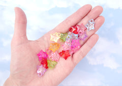 Plastic Star Charms - 19mm Small Faceted Transparent Star Plastic or Acrylic Charms or Pendants - 100 pc set