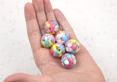 20mm Pastel Mix Colorful Rainbow Bubblegum Jello Chunky Resin Beads - 12 pcs set