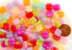 Kawaii Beads - 10mm Small Lucky Clover Jelly Color Plastic Acrylic or Resin Beads – 100 pc set