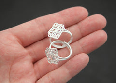 20mm White Diamond Shaped Lacy Filigree Painted Enamel Ring Bases or Blank Rings - 5 pc set