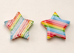 20mm Colorful Rainbow Star Glitter Resin Cabochons - 8 pc set