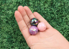 20mm AB Faceted Iridescent Huge Chunky Round Acrylic or Resin Beads - 12 pc set