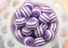 20mm Purple and White Stripe Resin Beads - 8 pc set