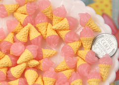 10mm Little Pink Realistic Ice Cream Cone Resin Cabochons - 8 pc set
