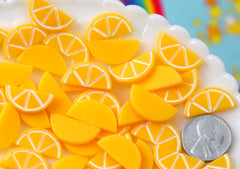 Fake Fruit - 10mm Tiny Orange Slices Resin Cabochons - 20 pc set
