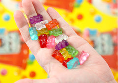 20mm Fake Hard Resin Gummy Bears Flatback Cabochons - 16 pc set