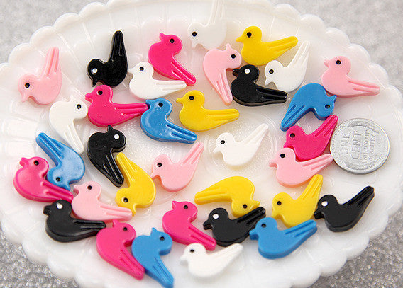 20mm Little Birds Resin Cabochons - 12 pc set