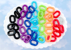 Plastic Chain Links - 20mm Deep Dark Colors Plastic or Acrylic Chain Links - Mixed Colors - 100 pc set