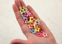 20mm Little Kawaii AB Iridescent Star Outline Plastic or Acrylic Charms or Pendants - 80 pc set