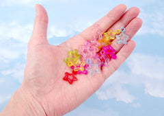 Plastic Star Charms - 20mm Transparent Star Outline Plastic or Acrylic Charms or Pendants - 100 pc set