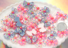 20mm Little Colorful Star Print Ribbon or Bow Resin Flatback Cabochons - 9 pc set