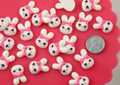 20mm Little White Kawaii Bunny Rabbit with Pink Polka Dot Bow Flatback Acrylic or Resin Cabochons - 7 pc set
