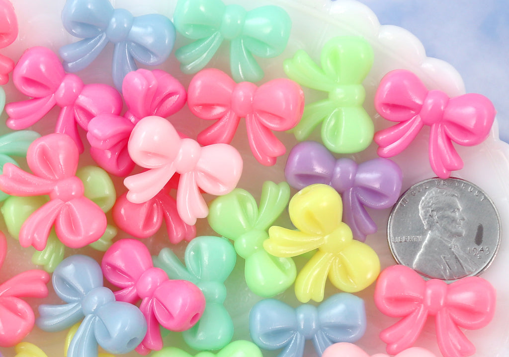 20mm Bright Pastel Neon Bows Ribbon Shape Acrylic or Resin Beads - 40 pc set