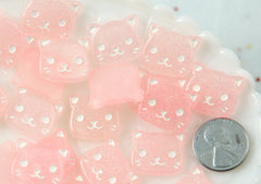 Pink Cat Cabochon - 20mm Little Kitty Cat Pink Glitter Pastel Kawaii Resin Cabochons - 6 pc set