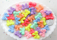 Pastel Beads - 20mm Small Pastel Bow or Ribbon Shape Acrylic or Resin Beads - 40 pc set