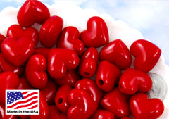 Plastic Heart Beads - 17mm Deep Red Puffy Heart Acrylic or Resin Beads - 24 pcs set
