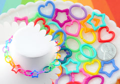 Kawaii Plastic Chain Links - 20mm Opaque Bright Colorful Star Heart and Oval Shape Plastic or Acrylic Chain Links - 200 pc set