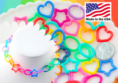 Kawaii Chain Links - 20mm Opaque Bright Colorful Star Heart Shape Plastic Chain Links - 200 pc set