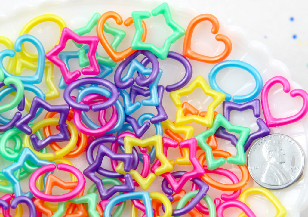 Cute Shapes Plastic Chain Links 20mm Pearly Bright