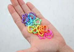 Cute Shapes Plastic Chain Links - 20mm Pearly Bright Colorful Star Heart and Oval Shape Plastic or Acrylic Chain Links - 200 pc set