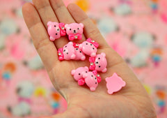 17mm Little Pink Bear Flat Back Resin Cabochon - Kawaii Cartoon Character with Rhinestone Acrylic or Plastic Cabochons - 10 pc set