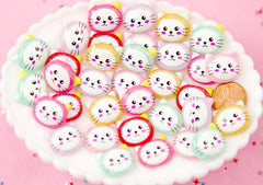 Kawaii Cabochon - 20mm Colorful Kawaii Kitty Cat Multi Color Flat Back Resin Cabochons - 12 pc set