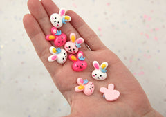 20mm Small Cute Bunny with Crown Flatback Acrylic or Resin Cabochons - Pink, Rose, and White - 9 pc set