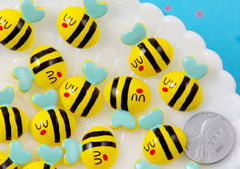 Kawaii Bee Cabochon - 20mm Adorable Bees Flat Back Resin Cabochons - 6 pc set