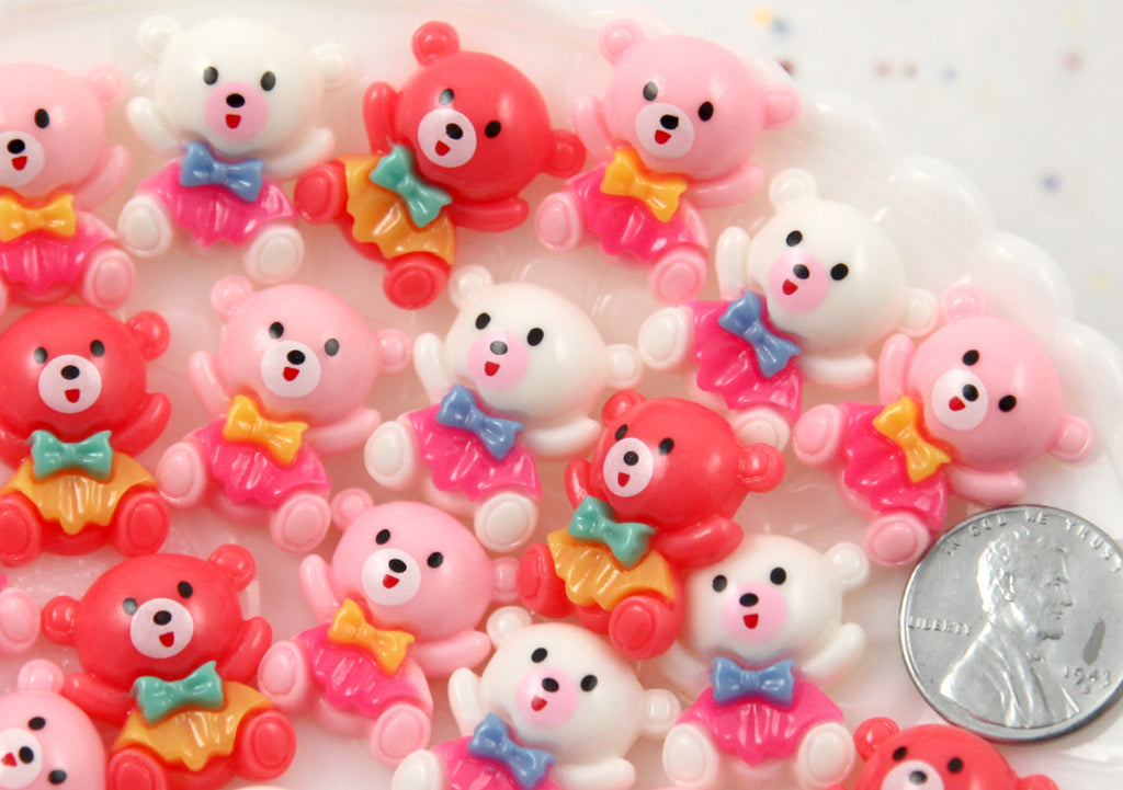 20mm Super Kawaii Little Bear with Bowtie Acrylic or Resin Cabochons - 9 pc set