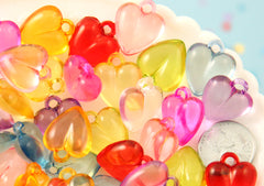 Heart Charms - 20mm Transparent Heart Acrylic or Plastic Dangly Hearts Charms or Pendants - 50 pc set