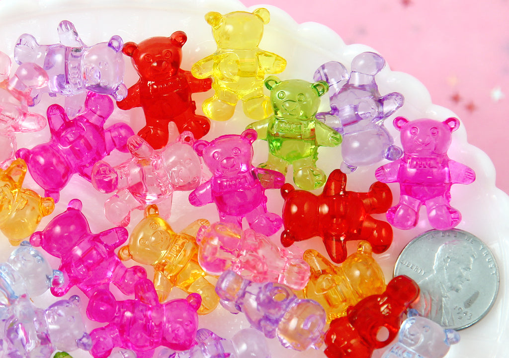 Kawaii Beads - 20mm Transparent Teddy Bear Bead Chunky Acrylic or Plastic Beads - 35 pc set