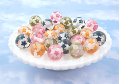 20mm Starry Transparent Bead with Inlaid Star Pattern Resin Beads - 8 pc set