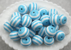 20mm Sky Blue and White Stripe Resin Beads - 8 pc set
