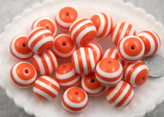 20mm Orange and White Stripe Resin Beads - 8 pc set