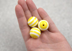 20mm Yellow and White Stripe Resin Beads - 8 pc set