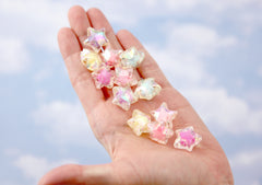 Pastel Star Beads - 20mm AB Pastel Shooting Star Resin or Acrylic Beads - 20 pc set